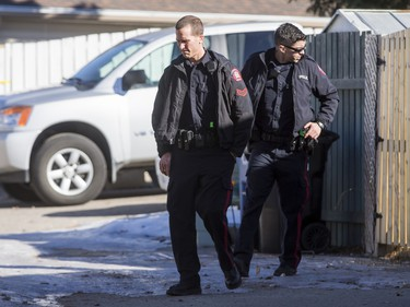 Police search the back alley behind a home in the 1800 block of 38 St NE in Calgary, Alta., on Sunday, Feb. 21, 2016. Early reports said shots had been fired into the home, but there was no early confirmation for media. Lyle Aspinall/Postmedia Network