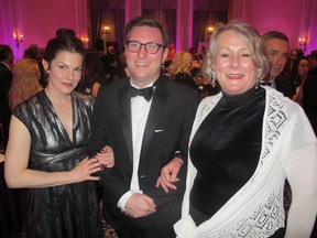Pictured, from left, at Decidedly Jazz Danceworks' (DJD)  Black and While Ball held Mar 5 at the Fairmont Palliser are DJD artistic director Kimberley Cooper, ball co-chair, CEPA's Evan Wilson and DJD executive director Kathi Sundstrom.