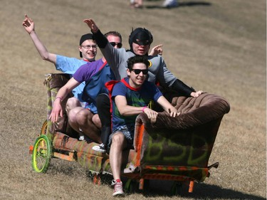 2010 - University of Calgary students participate in a downhill couch race on St Andrews Hill near the University.