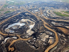An aerial view of Canadian Natural Resources Limited (CNRL) oilsands mining operation near Fort McKay