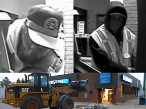 RCMP in Rocky Mountain House released these surveillance photos of two suspects in connection who used a stolen front end loader to crash into a bank and remove an ATM on May 5, 2016.