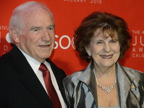 The honourable Lois Mitchell, Alberta Lieutenant Governor, right, and Doug Mitchell visit the 2016 Junos Green Carpet in Calgary on Saturday, April 2, 2016.