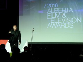Host Jebb Fink speaks during the Alberta Film and Television Awards at the Hyatt in Calgary.