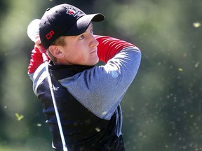 Top ranked Canadian amateur Jared du Toit chips on the range prior to teeing off in the Glencoe Invitational Wednesday June 15, 2016 at the Glencoe Golf Club. (Ted Rhodes/Postmedia)
