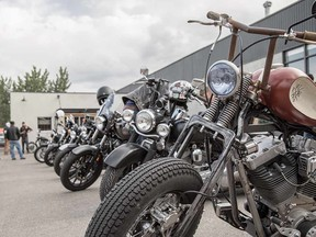 Motorcycle meet-up group at Ill-Fated Kustoms in the south Manchester Industrial area.