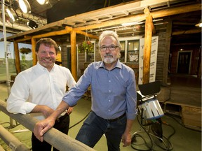 Steve Schroeder (L), executive director of the Calgary International Film Festival, and Tom Cox, managing director of Seven24 Films, at a Calgary film set for the CBC TV show Heartland on Wednesday, July 27, 2016. CIFF was announcing new initiative to showcase Alberta productions, and Heartland, a Seven 24 production, was chosen to be the flagship for that effort in this inaugural year.