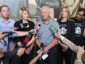 Family members of Anthony Heffernan speak to the media following an ASIRT announcement that there will be no charges in his death. From left are; brother Grant, mother Irene, dad Pat, sister Natalie and brother-in-law Joseph. Anthony was shot and killed by police in a northeast Calgary hotel room while he was a high drugs.  Gavin Young/Postmedia