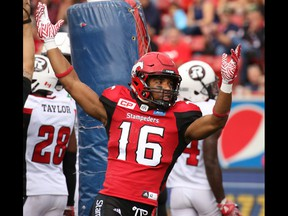 Calgary Stampeders receiver Marquay McDaniel celebrates his touchdown in the first half of CFL football action between the Stampeders and Ottawa Redblacks at McMahon Stadium in Calgary on Saturday September 17, 2016.