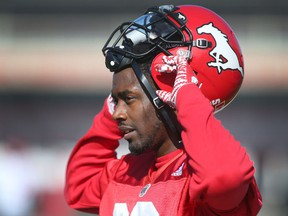 Calgary Stampeders wide receiver DaVaris Daniels is shown at practice at McMahon Stadium in Calgary, Alta. on Thursday September 29, 2016. The team plays against the Hamilton Tiger Cats on Saturday. Jim Wells/Postmedia