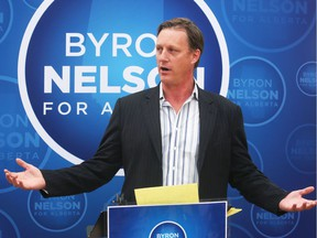 Calgary lawyer Byron Nelson announces his candidacy for the provincial PC leadership on Tuesday  September 27, 2016.