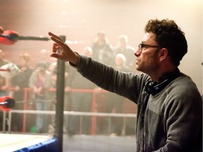 Robert Cuffley directs a scene from his comedy, Chokeslam.