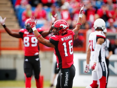Calgary Stampeders Marquay McDaniel celebrates after his touchdown against the Ottawa Redblacks during CFL football in Calgary, Alta., on Saturday, September 17, 2016.
