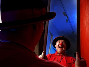 Kirk myles, aka Hamlet the Clown, has been clowning for 30 years in Calgary, Alta., and is pictured at his home on Friday October 7, 2016. He's not too happy about the creepy clown trend and says clowns are supposed to make kids laugh. Leah Hennel/Postmedia