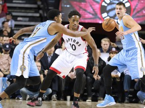 The Toronto Raptors' DeMar DeRozan keep his eye on the ball during the NBA preseason game between the Denver Nuggets and Toronto Raptors at the Scotiabank Saddledome in Calgary on Monday Oct. 3, 2016.  Gavin Young/Postmedia