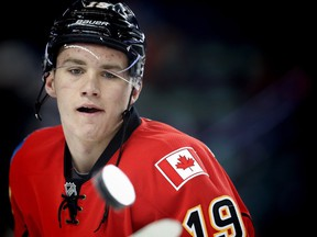 Calgary Flames Matthew Tkachuk during the pre-game skate before playing the Washington Capitals in NHL hockey in Calgary, Alta., on Sunday, October 30, 2016. AL CHAREST/POSTMEDIA
