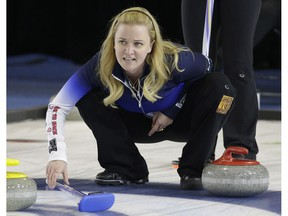 Chelsea Carey watches a rock during game action against Kelsey Rocque's team at the Grand Slam of Curling's Humpty's Champions Cup held at the Sherwood Park Arena on April 26, 2016.