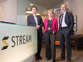 Dumitru Cernelev, Birgit Juergensen and Allan Chegus are with Stream Systems which has been nominated in the innovation category of the Small Business Calgary Awards, to be handed out Thursday.