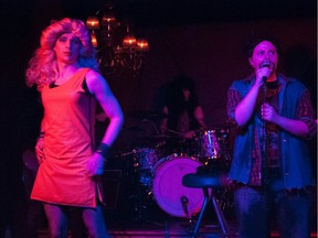 Zach Peterson and Mandee Marcil in performance in Hedwig and The Angry Inch.