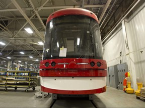 One of the new Toronto streetcars sits under construction at the Bombardier factory in Thunder Bay, Ontario on Wednesday, December 3, 2014.