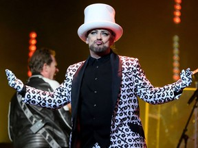 Culture Club's Boy George gets the crowd of a couple of thousand going at TD Place in Ottawa Nov. 1, 2016. The band has postponed the remainder of its dates including a Calgary concert.