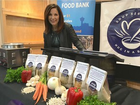 Sharon Hapton, founder of Calgary-based non-profit Soup Sisters. It has partnered with 7-Eleven to sell its products there with 100 per cent of proceeds going back to the organization. In addition, Soup Sisters is providing bags of fresh, homemade soup to go into hampers at the Calgary and Veterans food banks.