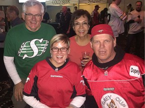 When Harold Gutek's 10-year-old daughter Patti was paralyzed in a ski accident three decades ago, he turned to football to ease her pain. .Harold Gutek (in Sask green) Patti Peck, friend Mechita Harris, unidentified man- supplied Photo/Postmedia