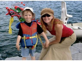 Ryan Alexander Lovett is shown with his mother Tamara Lovett in this image provided by the child's father Brian Jerome from his Facebook page. The trial of a Calgary woman accused of criminal negligence in the death of her seven-year-old son continues today.