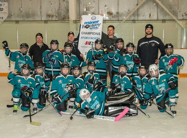 The Storm won the Atom 6 North title in Esso Minor Hockey Week.