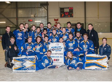 CRAA White won the Bantam AA division title in Esso Minor Hockey Week.
