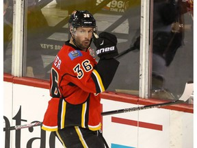 Calgary Flames forward Troy Brouwer celebrates after scoring a goal at the Scotiabank Saddledome on Dec. 4, 2016. (Mike Drew)