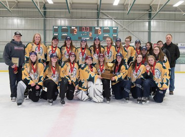 The Medicine Hat Avalanche finished on top in the U19B final at the Esso Golden Ring ringette tournament at Don Hartman North East Sportsplex in Calgary on Sunday, Jan. 15, 2017. Photo by Maxwell Mawji.