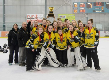 The Regina Stingers were the U16AA ringette champions at the Esso Golden Ring championship at Don Hartman North East Sportsplex in Calgary on Sunday, Jan. 15, 2017. Photo by Ashley Orzel.