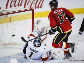 Florida Panthers goalie Roberto Luongo, left, tries to stop a goal from Calgary Flames' Lance Bouma during third period NHL hockey action in Calgary, Tuesday, Jan. 17, 2017.THE CANADIAN PRESS/Jeff McIntosh ORG XMIT: JMC113