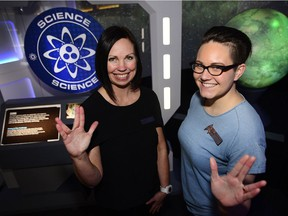 Left, Lisa Rollins and Kat Dornian from Telus Spark show off the newly completed Star Trek The Starfleet Academy Experience.