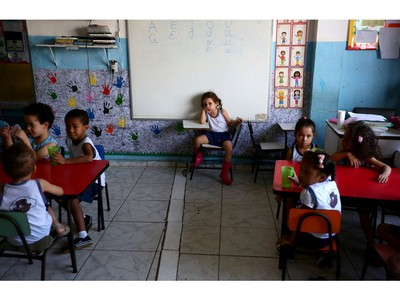 Young students at Project Favela, an early childhood school in the Rocinha favela, the largest favela in Rio de Janerio, Brazil on Tuesday September 13, 2016.