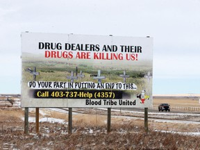 A billboard at the edge of the Blood Tribe reserve advertises ways to help stop the drug issues plaguing the southern Alberta reserve on Wednesday March 1, 2017.  (HOLD FOR UPCOMING FEATURE) GAVIN YOUNG/POSTMEDIA NETWORK