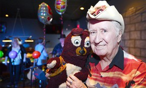 """Ron """"Buckshot"""" Barge and his pal """"Benny the Bear"""" Celebrated Barge's 50th anniversary in style at the Silver Point Pub & Eatery in NW Calgary, Alta., on March 11, 2017. Barge was a mainstay of television entertainment for year in Canada. Ryan McLeod/Postmedia Network"""