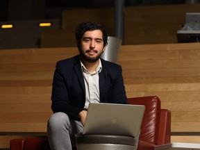 Software Engineering student Jose Herrera poses for a portrait at the University of Calgary on Tuesday, April 11, 2017. Herrera along with his four team members are using IBM's Blockchain technology to create what they hope will be fraud-proof electronic voting. Pier Moreno Silvestri/Postmedia Network