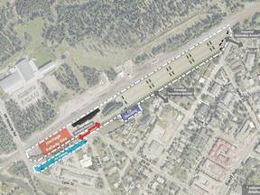 A view of the plan for a mass transit hub to be located at the historic Banff Train Station which includes a heritage railway district and a 900-stall park-and-ride lot. (Liricon Capital Ltd.)