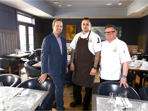 (L-R) Mark Wilson, GM and Vice President, Sean Cutler, Executive Chef and Jan Hansen, Executive Chef pose in the Oxbow dining room located at Kensington Riverside Inn in northwest Calgary, Alta on Thursday March 30, 2017. Jim Wells//Postmedia