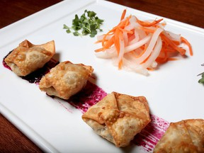 Bison wantons and Saskatoon berry gastric with Vietnamese pickles