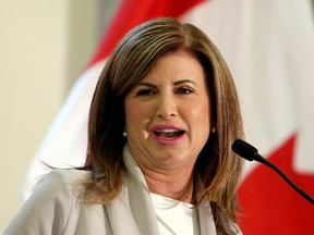 Conservative Interim leader Rona Ambrose speaks in Ottawa on Tuesday May 16, 2017. The longtime MP, who has led the Conservatives since they formed Opposition in 2015, will resign her seat in the House of Commons this summer. THE CANADIAN PRESS/Fred Chartrand ORG XMIT: FXC104