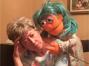 Deborah Ferguson and the puppet Pennie in Life Stage's production of Family Tear at the INKubator Theatre in Eau Claire Market