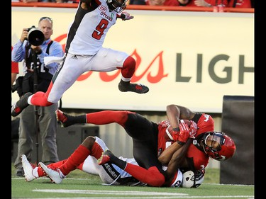 The Calgary Stampeders Kamar Jorden catches a long pass during the second half of CFL action against the Ottawa Redblacks at McMahon Stadium in Calgary on Thursday June 29, 2017. Gavin Young/Postmedia Network