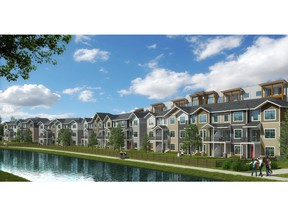 An artist's rendering of the Canals Townhomes by Slokker West in Airdrie.