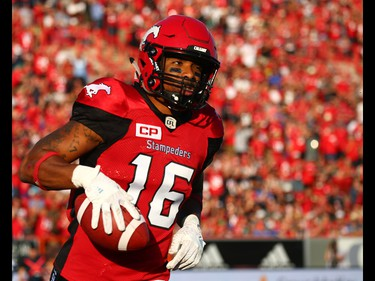 Calgary Stampeders Marquay McDaniela catches a pass to complete a two-point conversion in the first half against the Ottawa Redblacks during CFL football in Calgary. AL CHAREST/POSTMEDIA