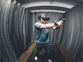 Vrkade, a virtual reality arcade, allows visitors to explore a variety of virtual reality worlds and games. Using a headset covering the eyes, headphones for the ears and two hand-held controllers, users are placed inside a computer-simulated experience, which lets them interact with characters, objects and other players.