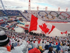 Opening ceremony of the 1988 Winter Olympics at McMahon Stadium in Calgary.
