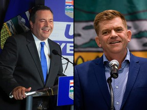 On the left, Jason Kenney. On the right, Brian Jean.