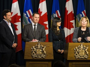 Energy Minister Margaret McCuaig-Boyd and Economic Development and Trade Minister Deron Bilous announce the members of the newly appointed Energy Diversification Advisory Committee,  Co-chair Jeanette Patell, government affairs and policy leader, GE Canada, and Co-chair Gil McGowan, president, Alberta Federation of Labour, on Thursday, October 13, 2016 in Edmonton. Their role is to explore opportunities for increasing value-added development in Alberta. The creation of this committee was a recommendation made by Alberta's Royalty Review Advisory Panel. Greg  Southam / Postmedia  (To go with a story by Emma Graney.) Greg Southam, Edmonton Journal